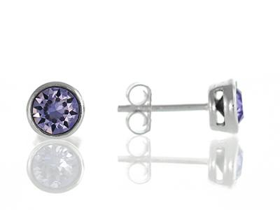 Purple cubic zirconia studs