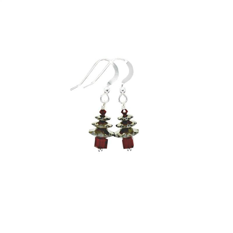 Gold and red christmas tree earrings