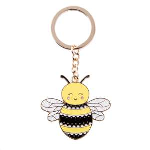 enamel bee key ring