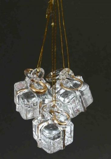 hanging glass present ornaments