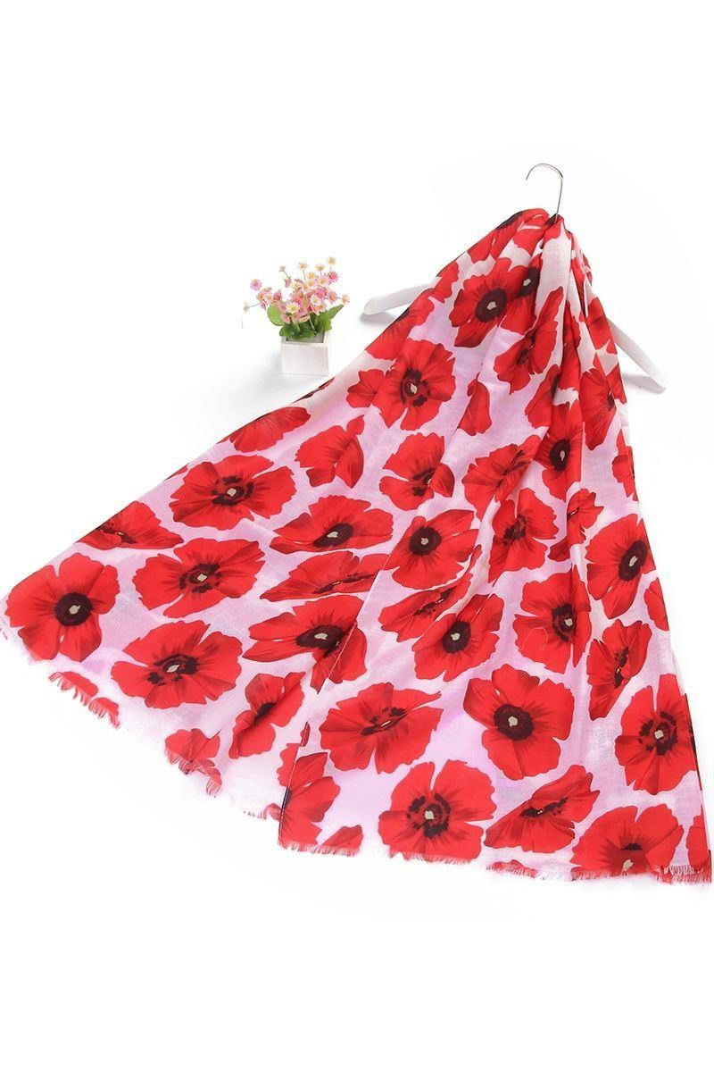 red and white poppy scarf