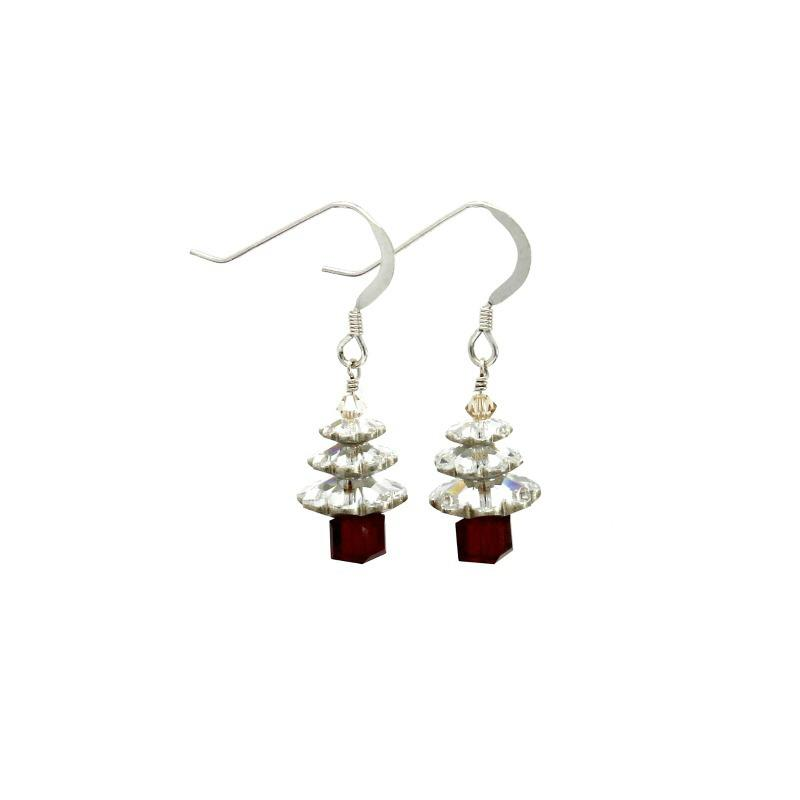silver and red christmas tree earrings
