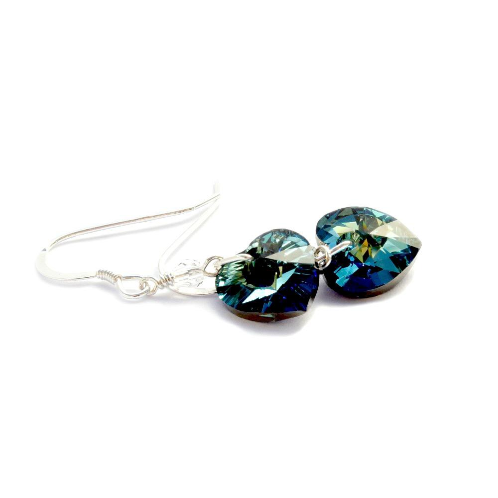 Crystal heart earrings bermuda blue