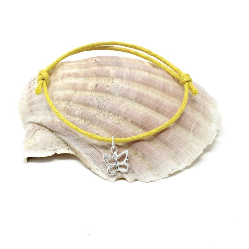 cotton butterfly bracelet yellow