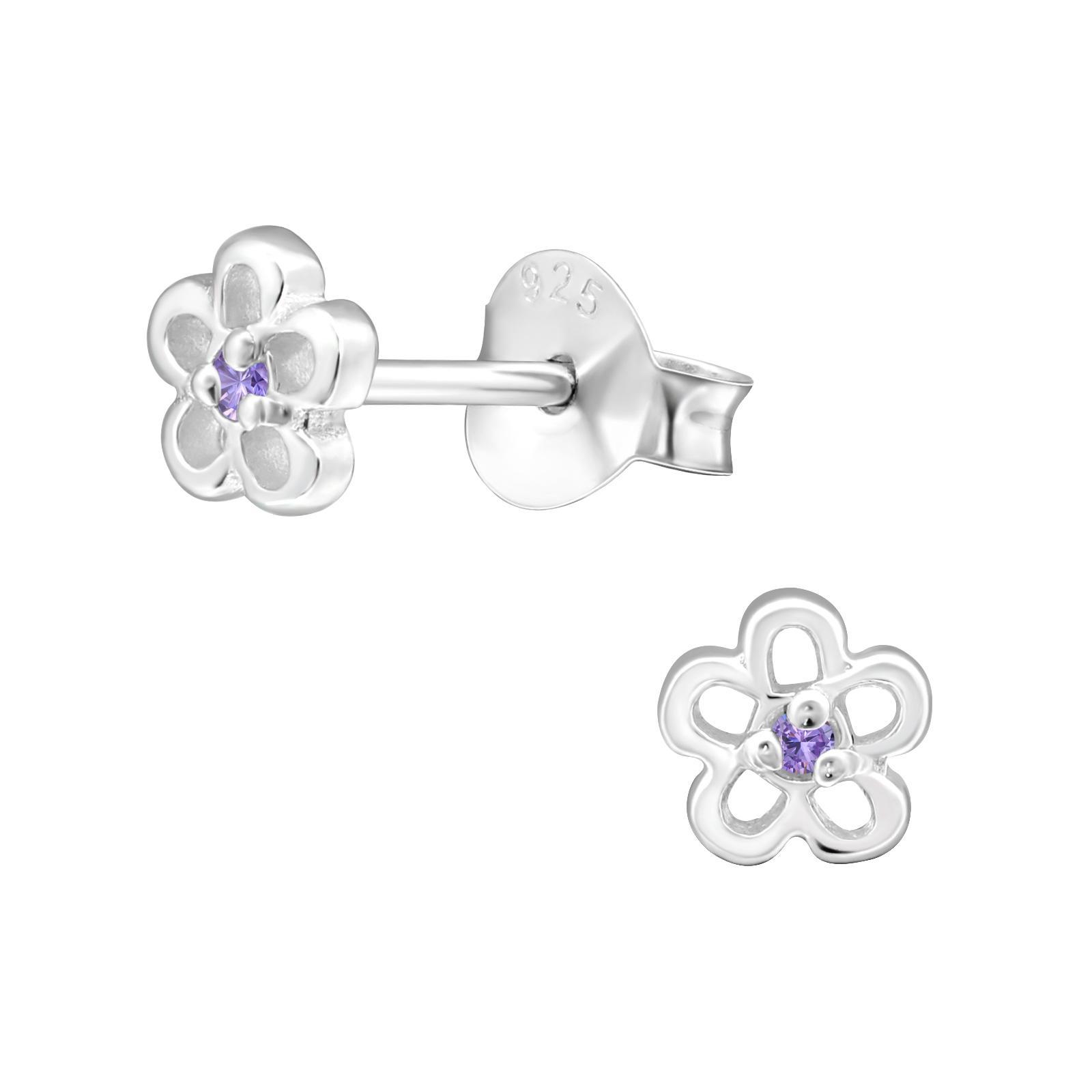 light purple cz flower earrings