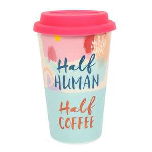 half human half coffee travel mug