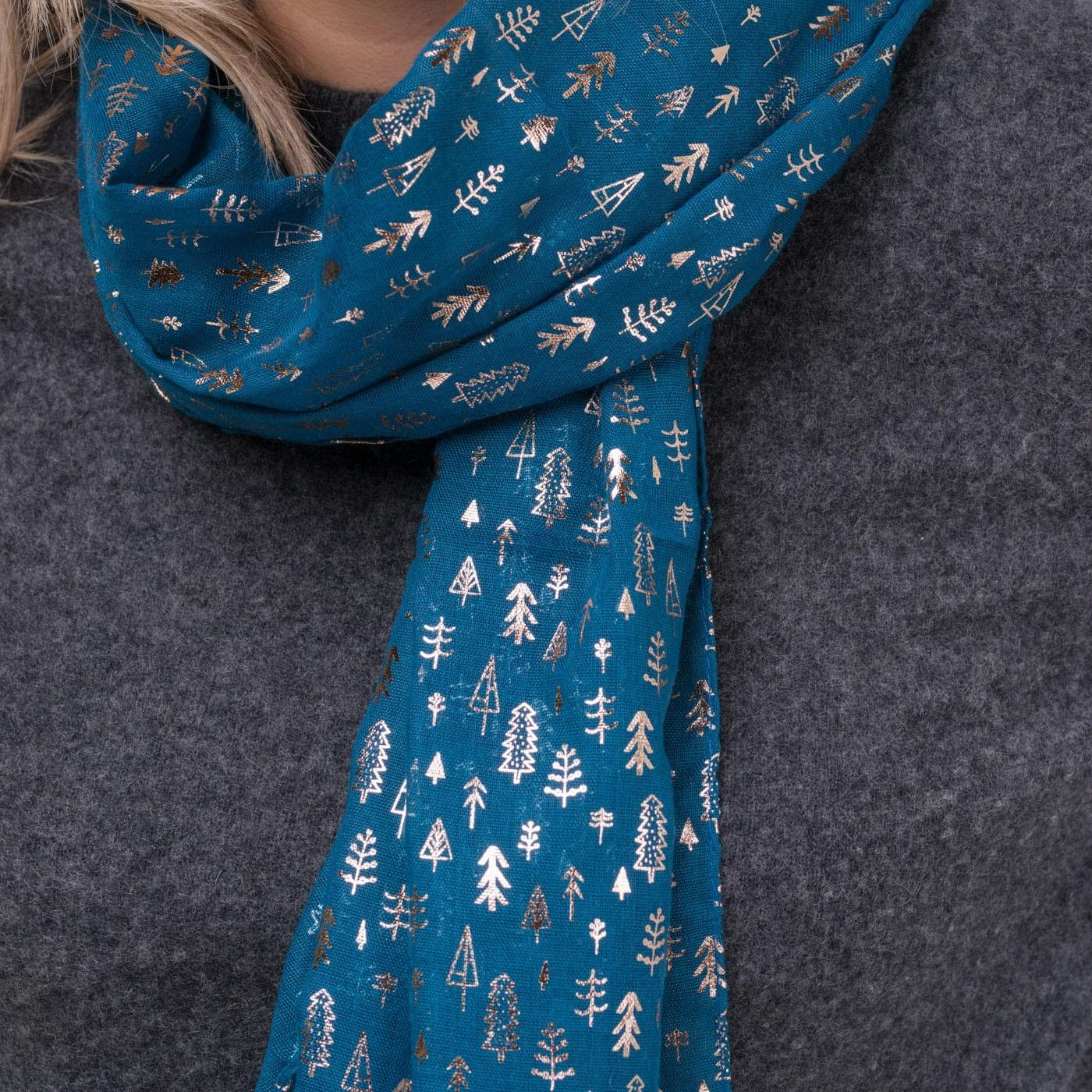 christmas tree scarf turquoise