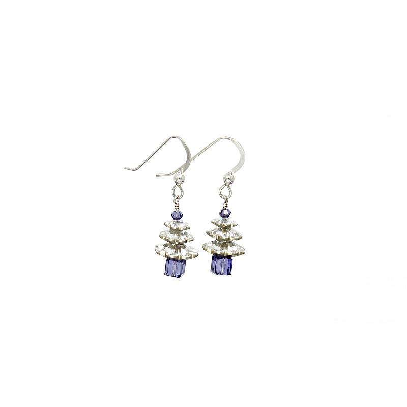 silver and tanzanite christmas tree earrings