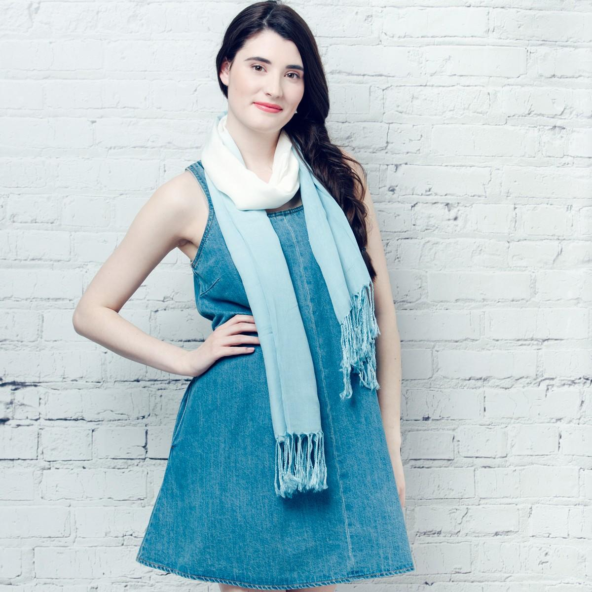 ombre effect scarf blue