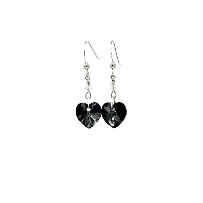 Crystal heart earrings black diamond