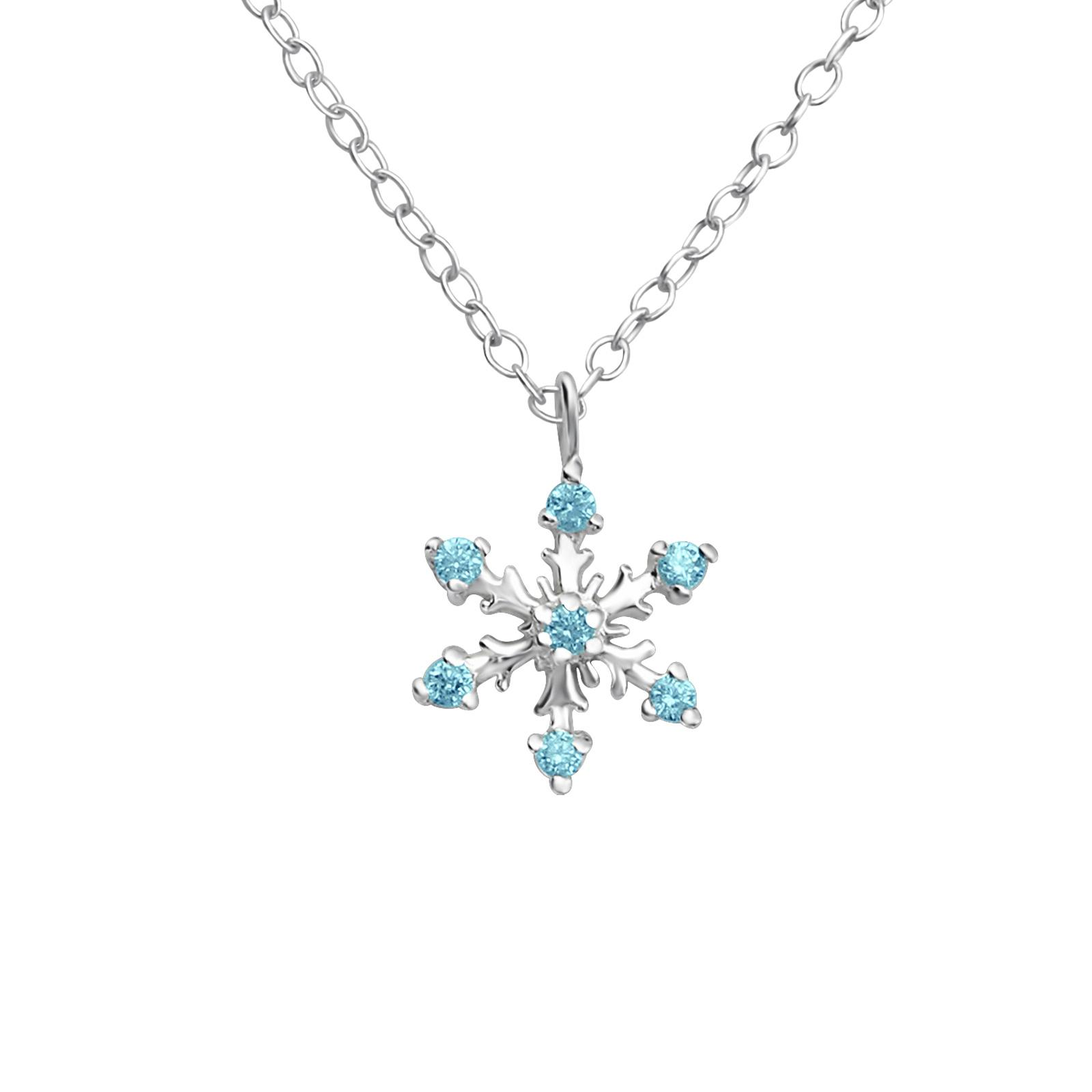 silver snowflake pendant with cubic zirconia