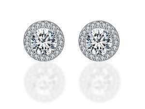 cubic zirconia halo earrings