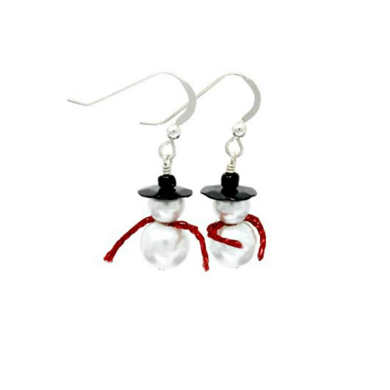 Snowman earrings red scarf