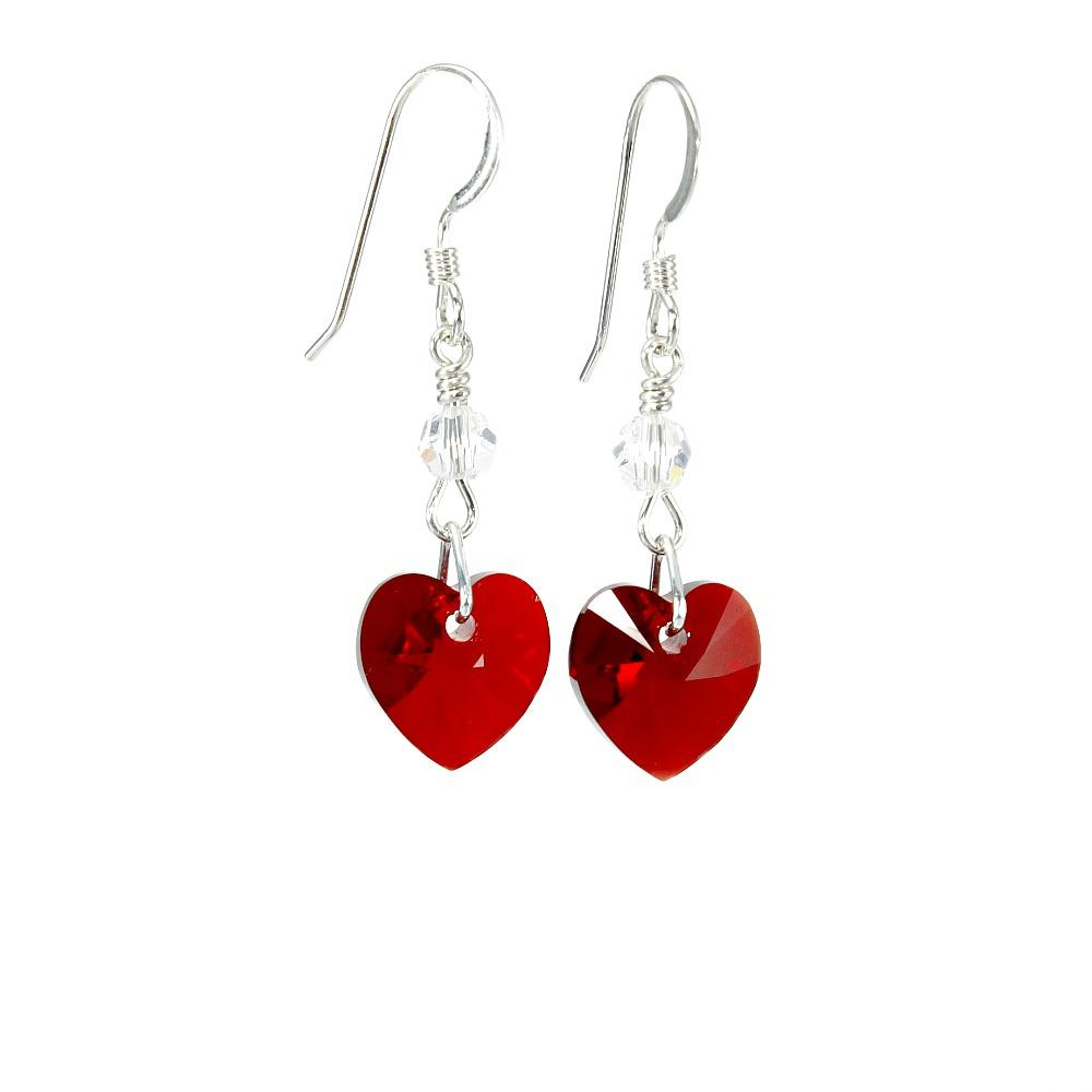crystal heart earrings siam/red