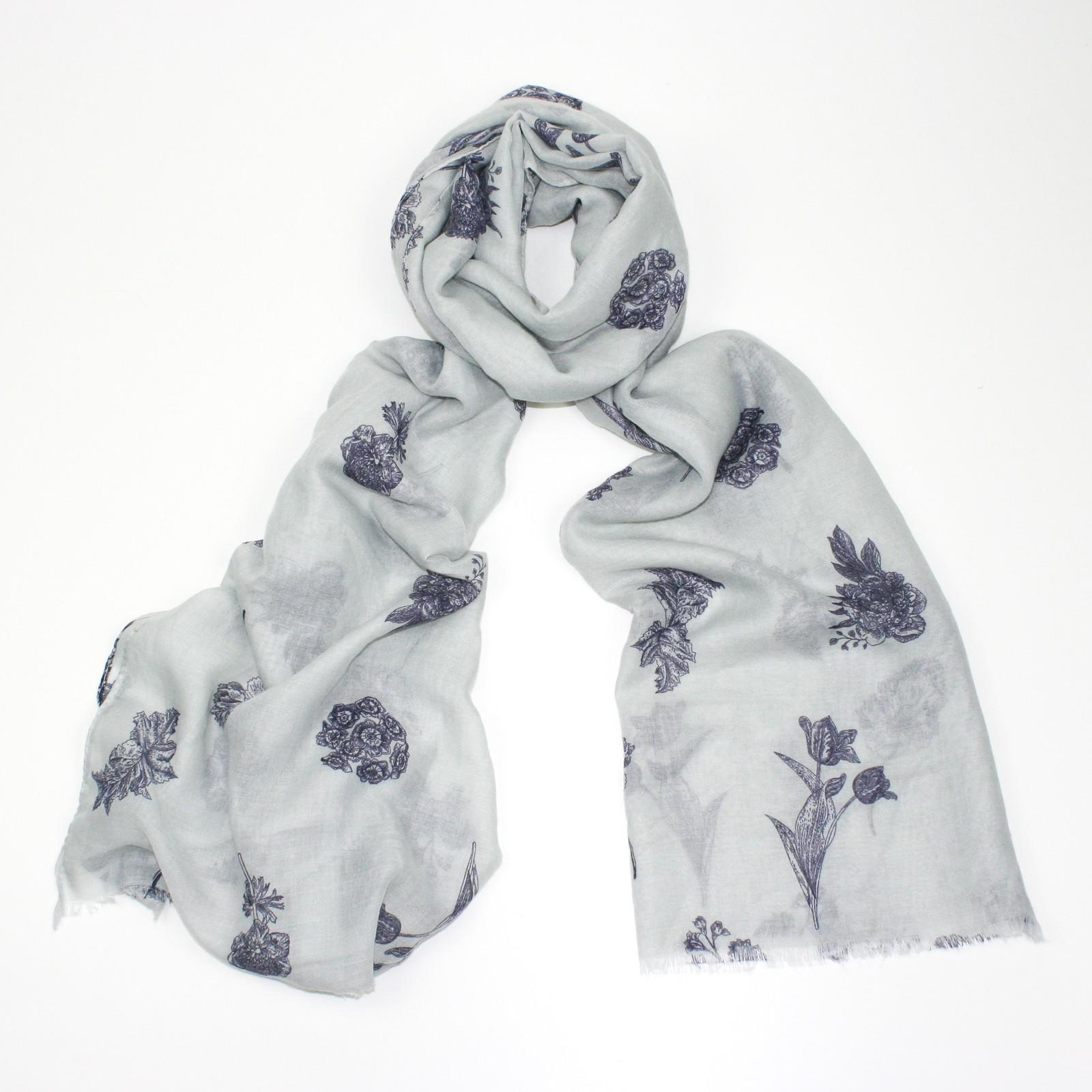 cream & blue floral scarf