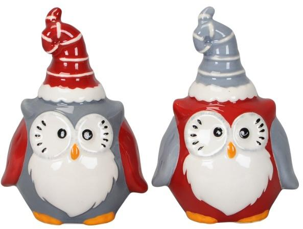 ceramic christmas owl ornaments