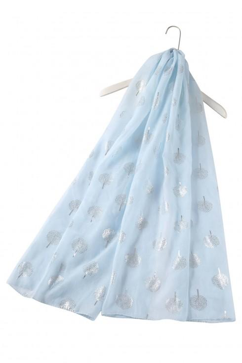 tree print scarf light blue