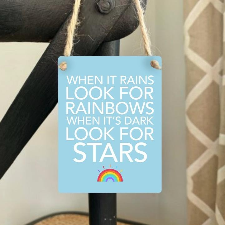look for rainbow mini metal sign