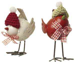 Metal birds with knitted hat