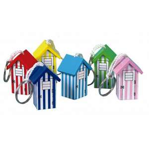 wooden beach hut keyring