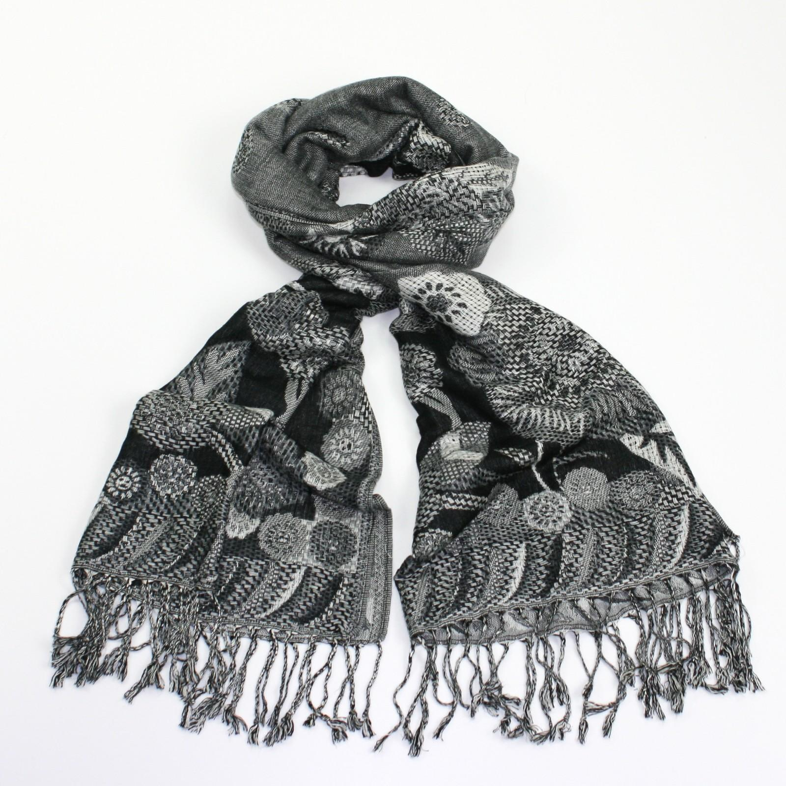 grey & black pashmina scarf