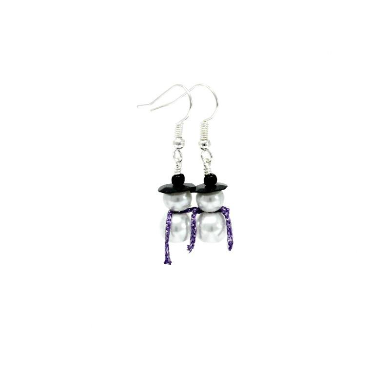 snowman earrings lilac scarf
