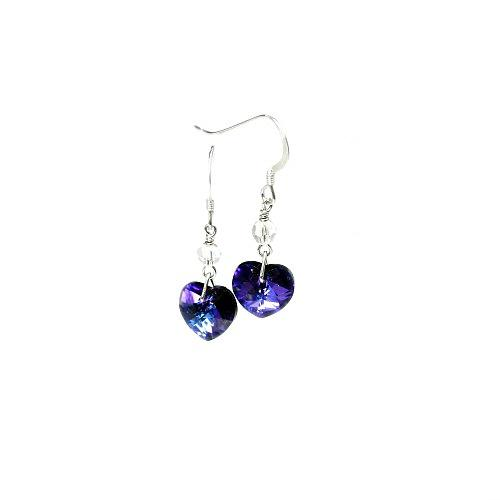 crystal heart earrings heliotrope/purple
