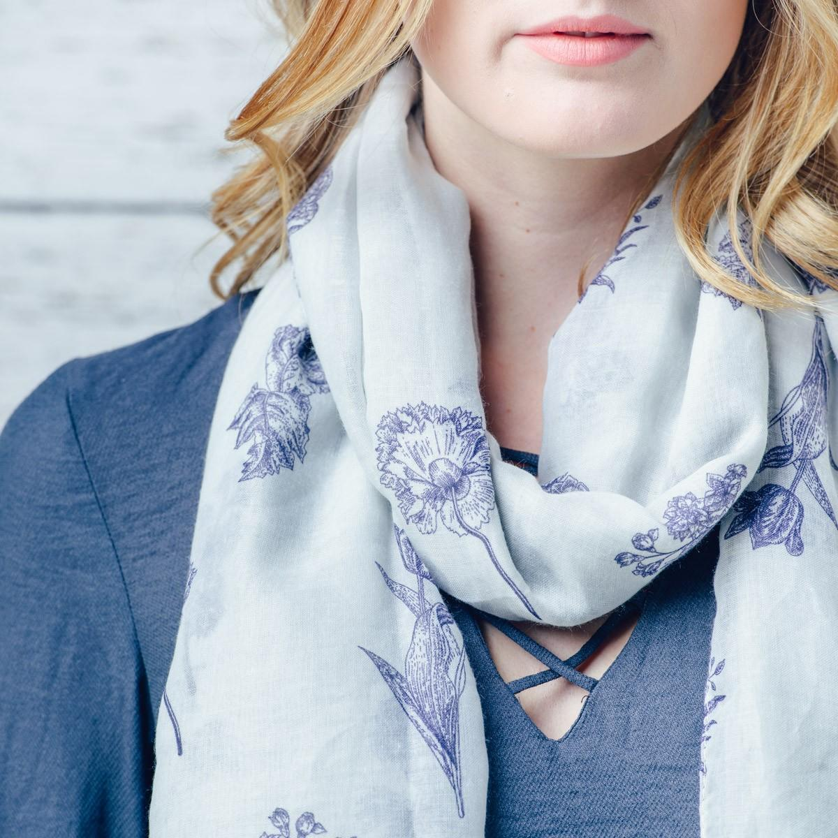 blue on cream floral scarf