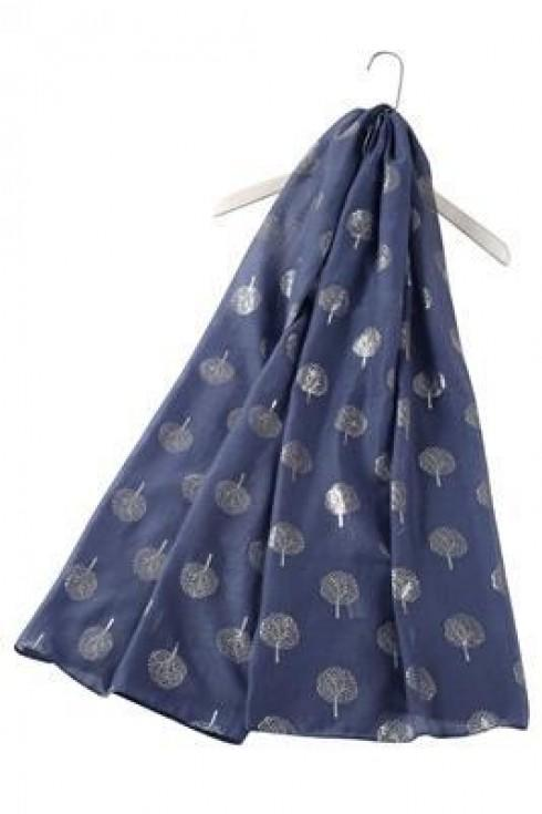 tree of life print scarf denim blue