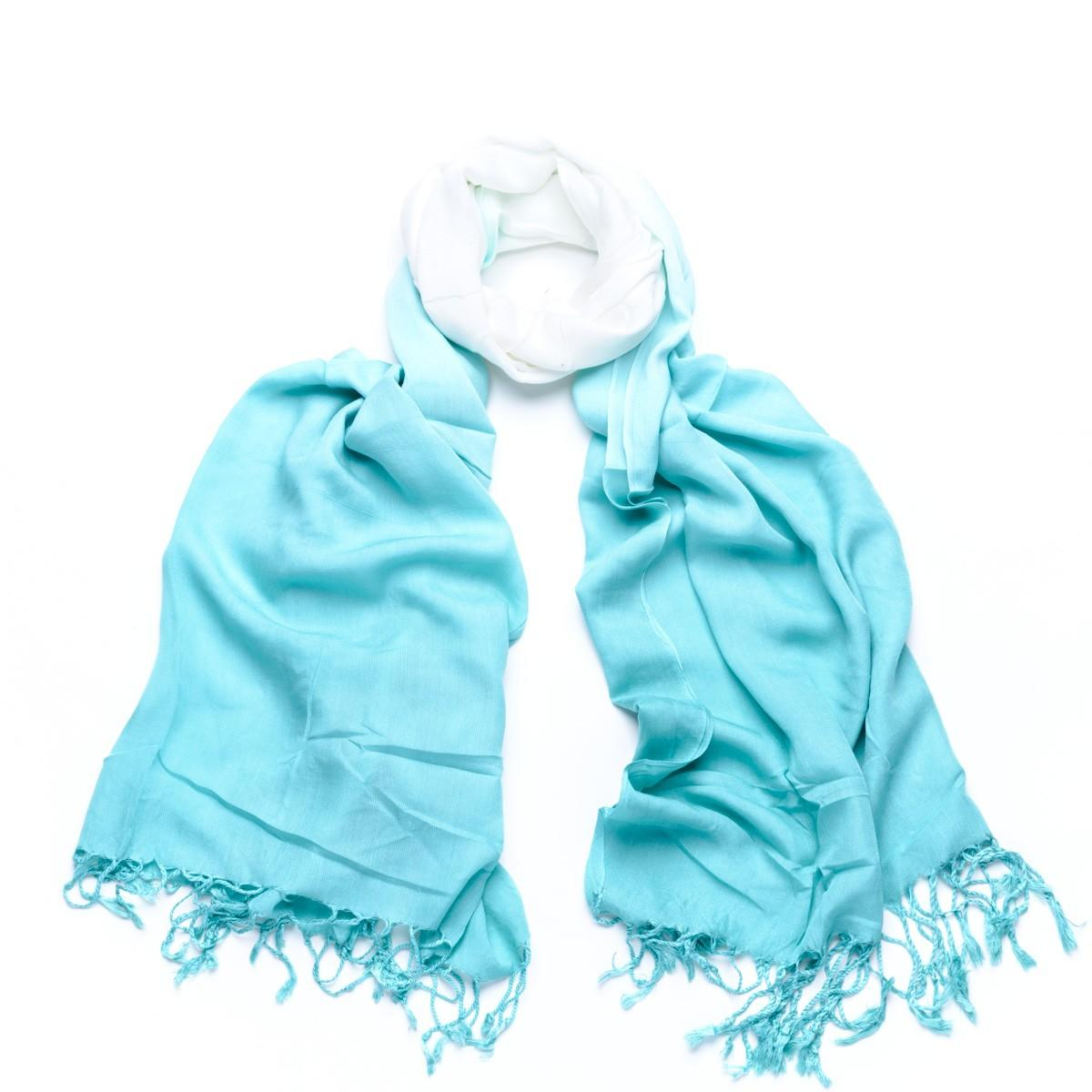 ombre effect scarf turquoise