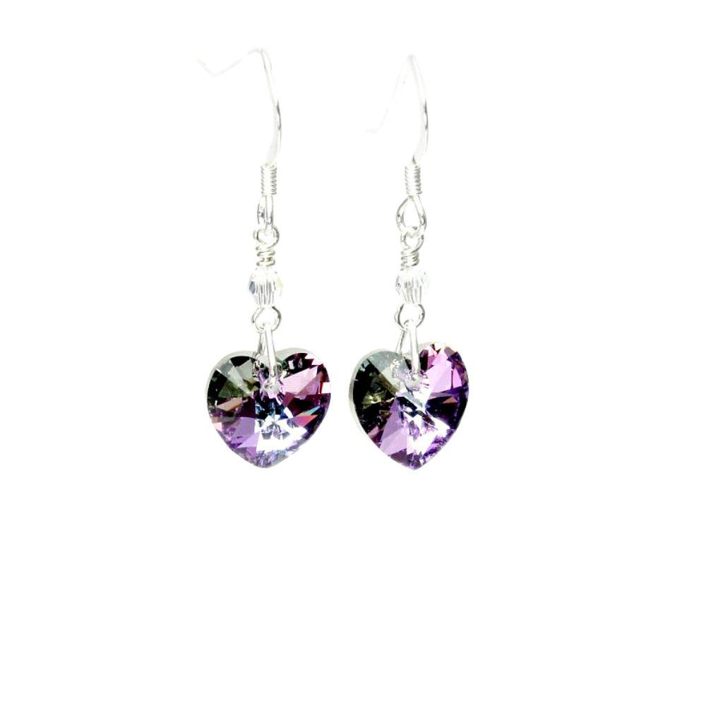 crystal heart earrings light vitrial/light purple