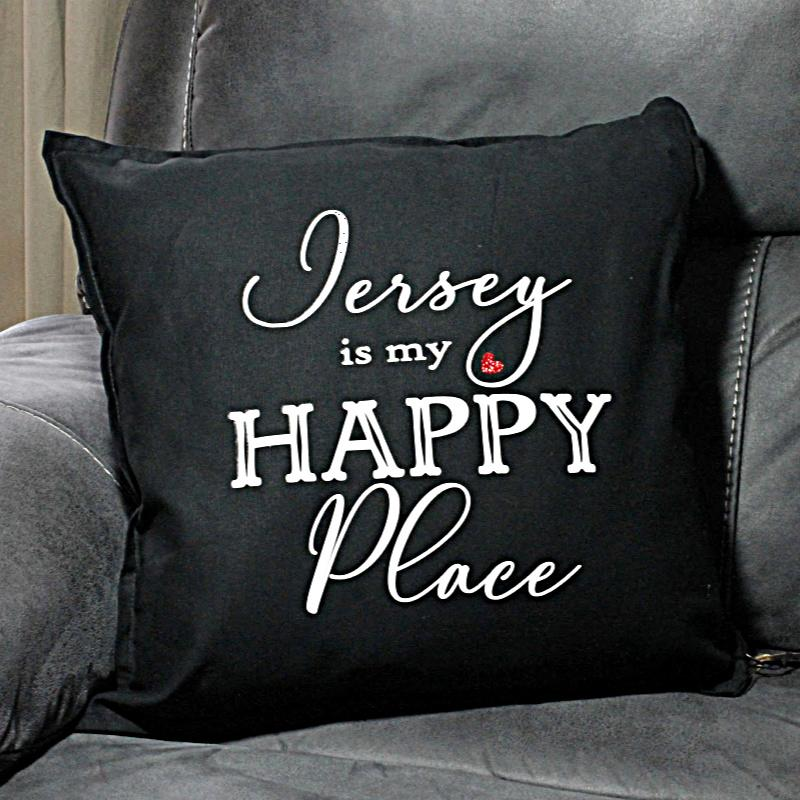 Large Jersey Happy Place cushion cover