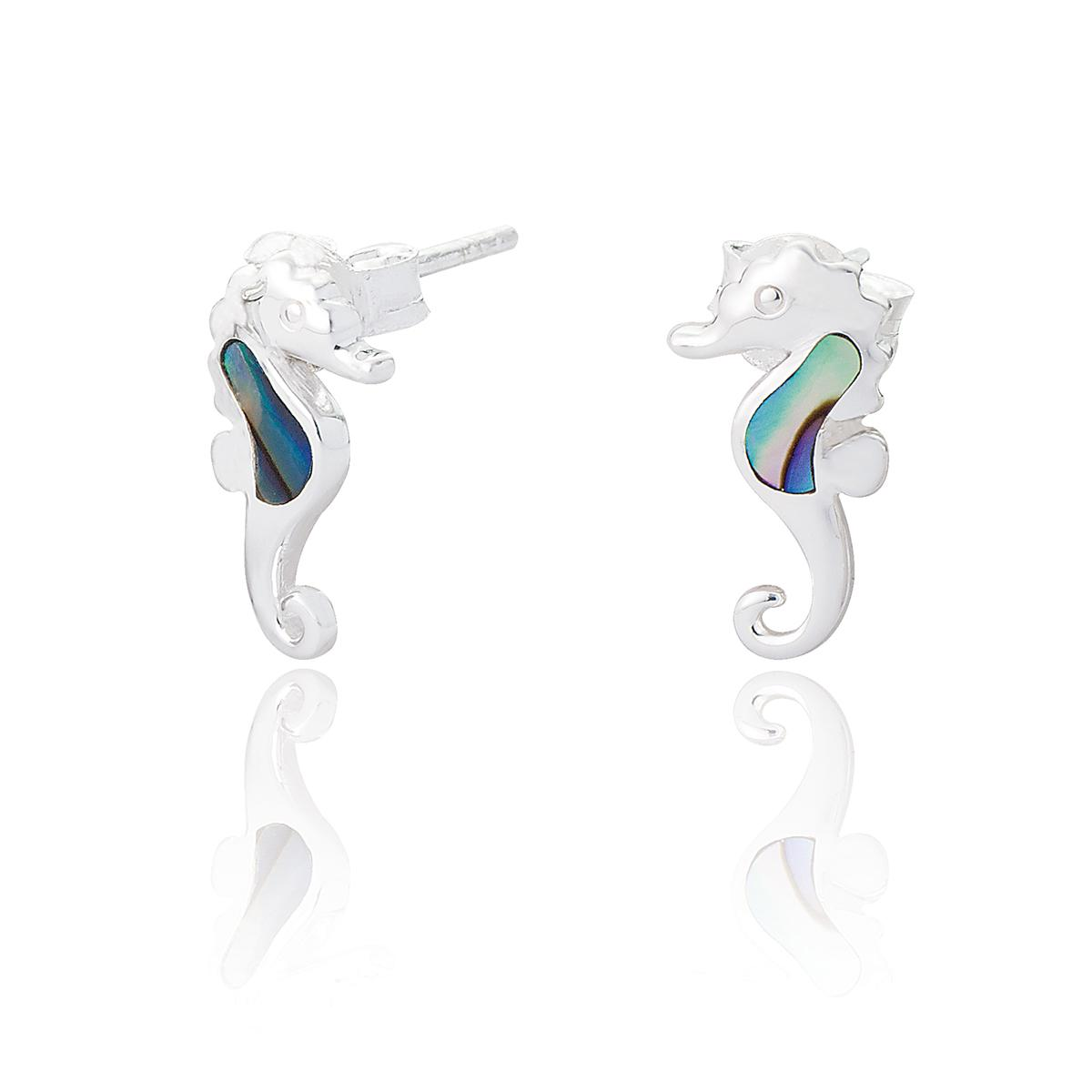 sterling silver & abalone seahorse earrings