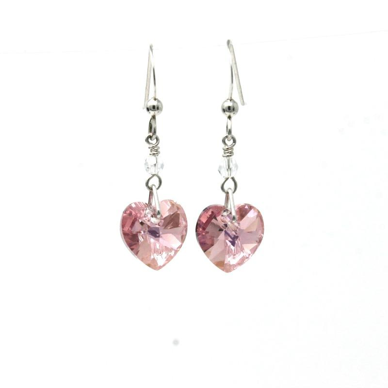 crystal heart earrings rose pink