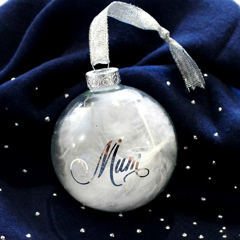White feather bauble Mum