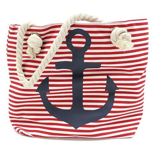 red striped beach bag