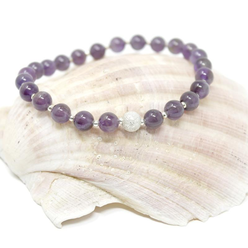 silver and amethyst bead bracelet