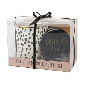 dotty dog lady coaster & mug set
