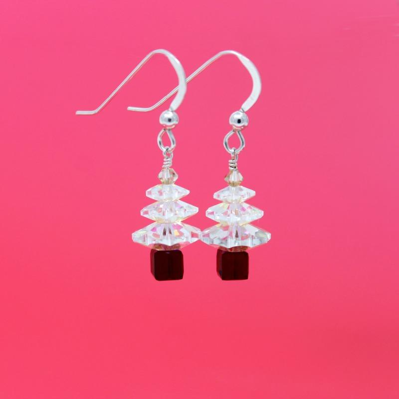 crystal & red xmas tree earrings
