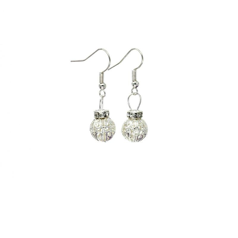 silver filigree christmas bauble earrings