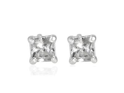 3mm square cut cz earrings
