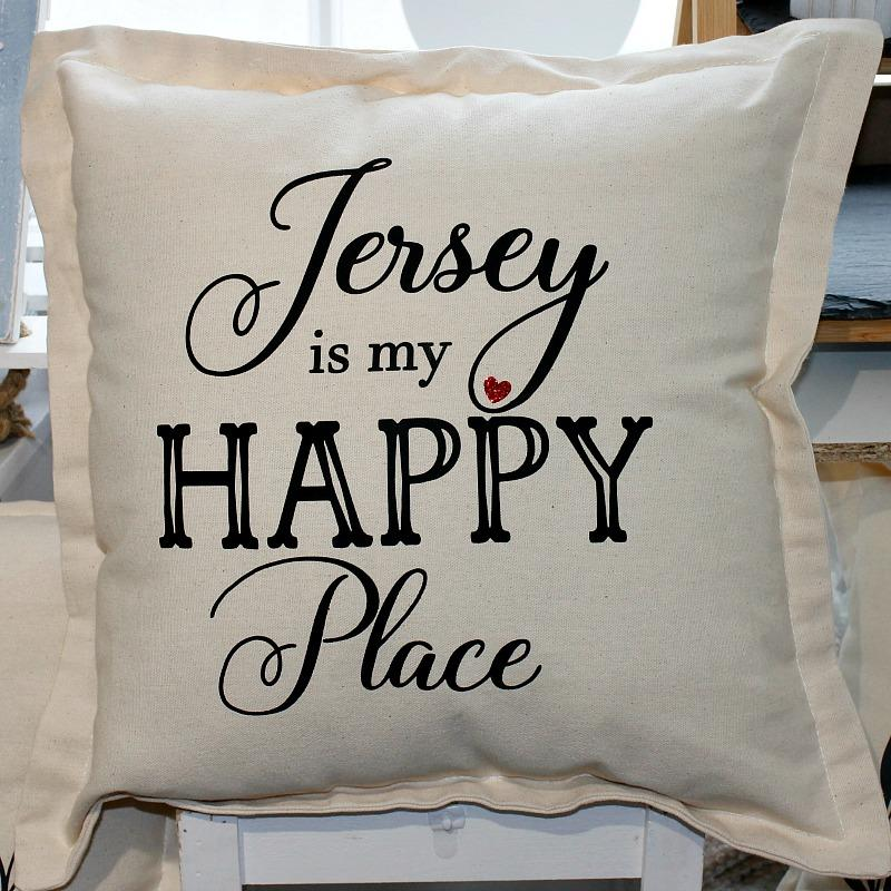 Jersey is my happy place cushion