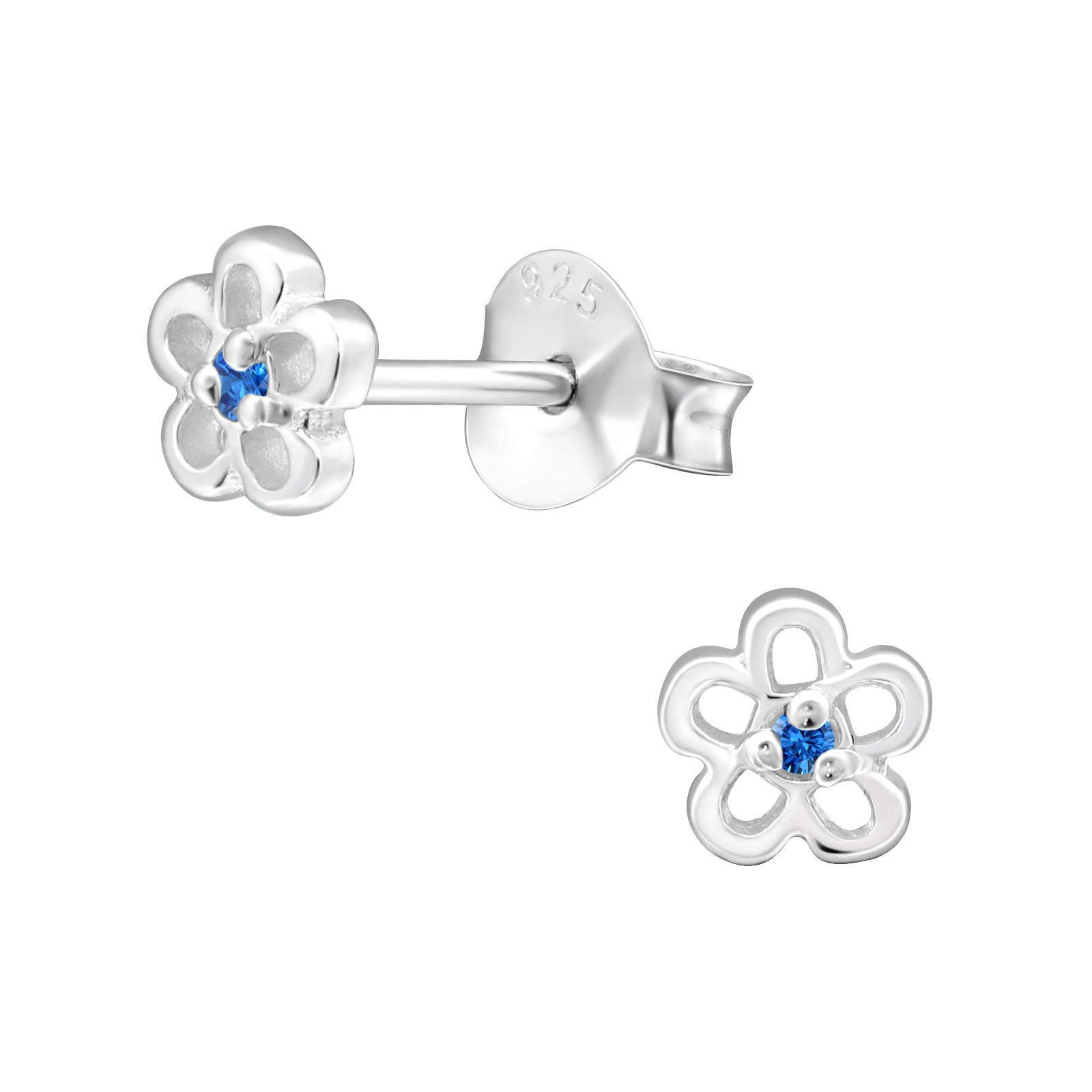 blue topaz CZ flower earrings