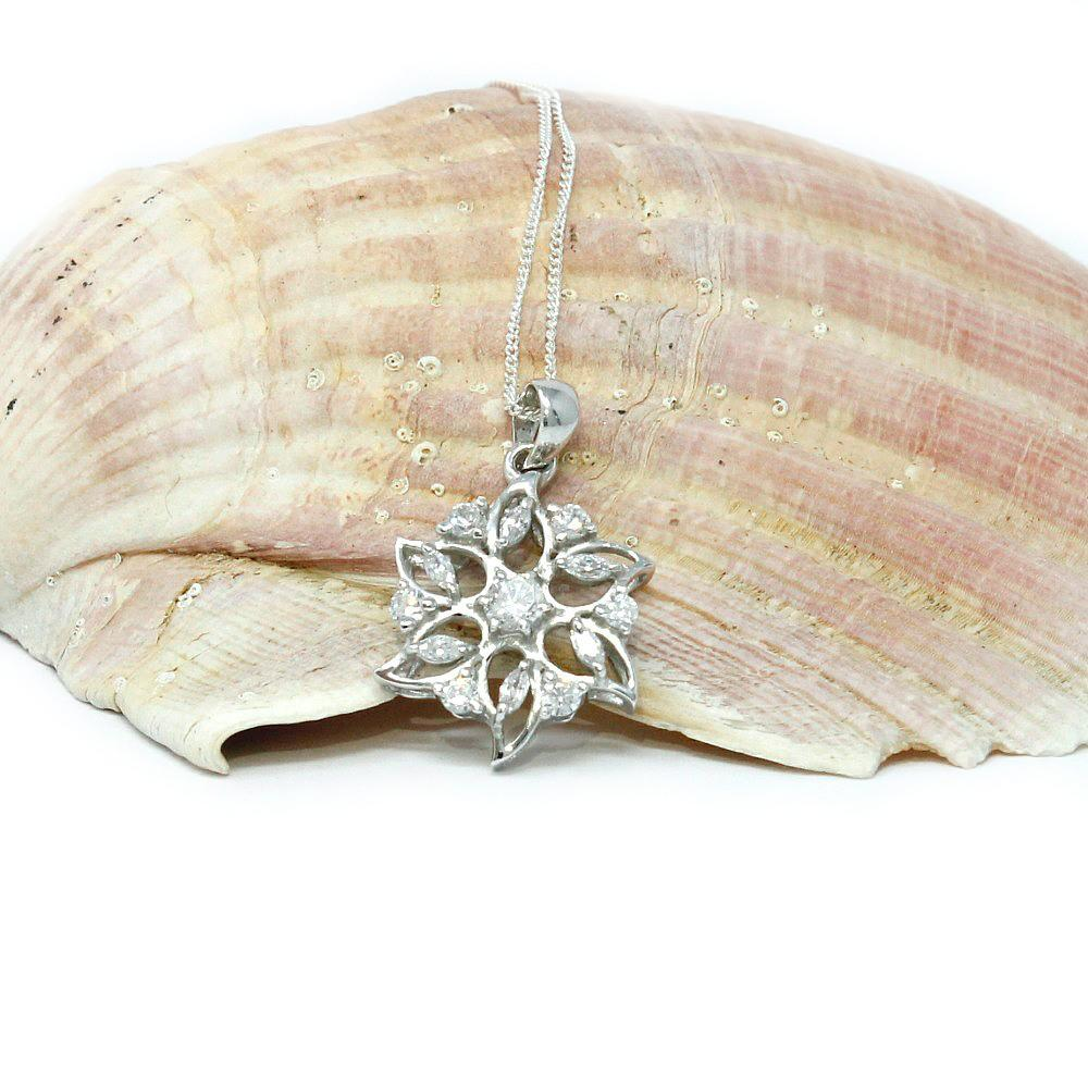 CZ & silver flower necklace