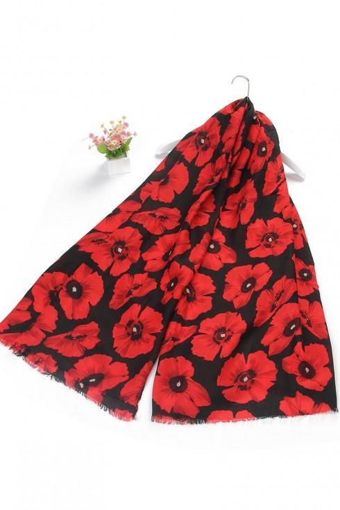 red & black Poppy scarf