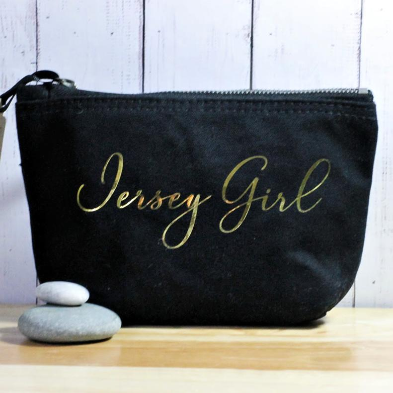 gold jersey girl make up bag