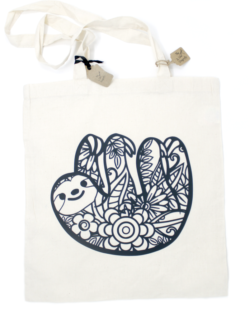 sloth cotton tote bag