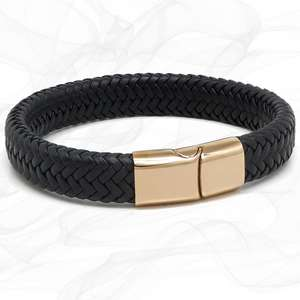 Chunky Black Super Soft Premium Leather Bracelet with a Rose Gold Sliding Magnetic Clasp.