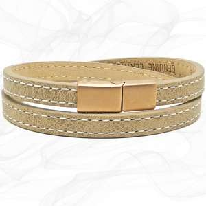 Girls Beige FROSTED ROSE GOLD CLASP TWO STRAP LEATHER BRACELET