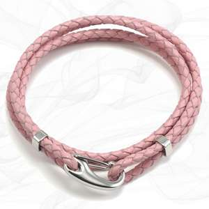 Pink Four Strap Bolo Leather Bracelet with a Petit Steel Lobster Clasp
